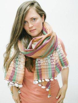 injiri apricot plaid scarf 36x75
