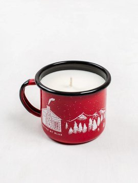 United By Blue mountain cabin enamel steel mug candle