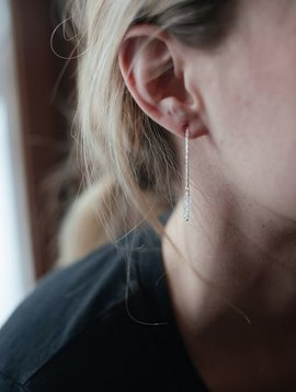 hart+stone silver quartz thread earrings