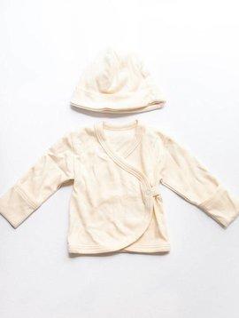 fog linen work organic cotton baby cap + cardigan 1-3months