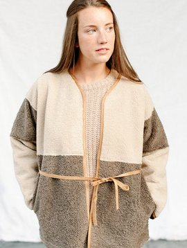 lux sherpa cardigan brown