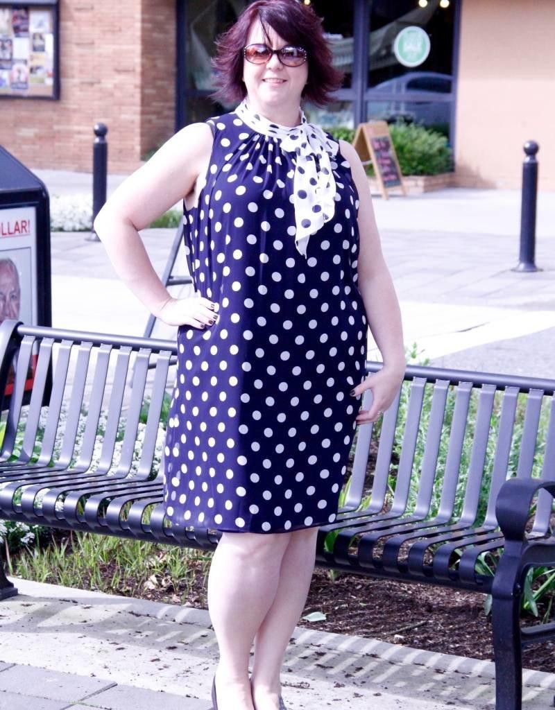 London Times Dotty Chiffon Dress