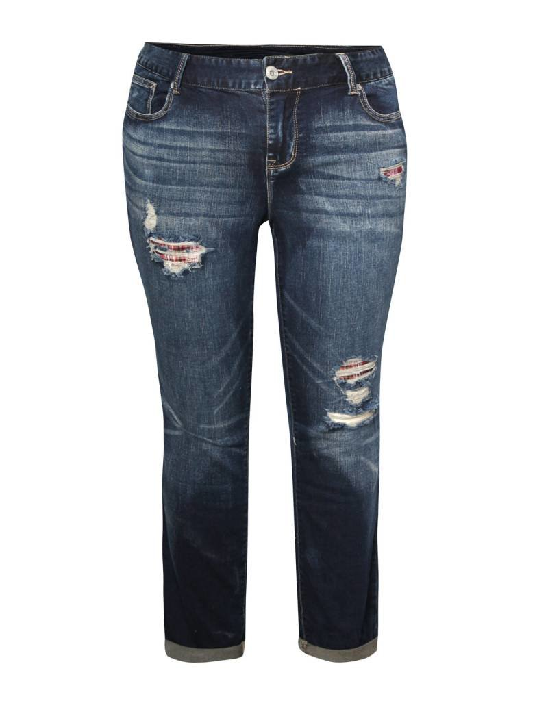 Dex Jeans with Plaid Patches