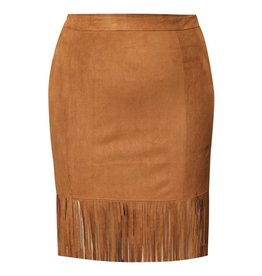 Dex Suede Skirt with Fringe Hem