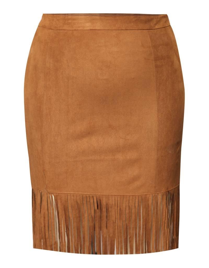 Dex Suede Skirt with Fringe Hem