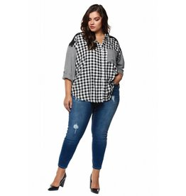 Dex Mixed Plaid Top
