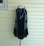 THML Halter Dress w Embroidery Black