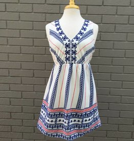 Flying Tomato Red White Blue Embroidered Dress
