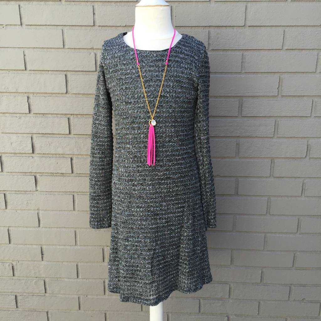Vintage Havana Knit Long Sleeve Button Back Skater Dress