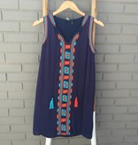 THML Blue Embroidered Shift Dress