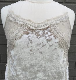 Teresa Ivory Crushed Velvet Lace Top ORIG 86
