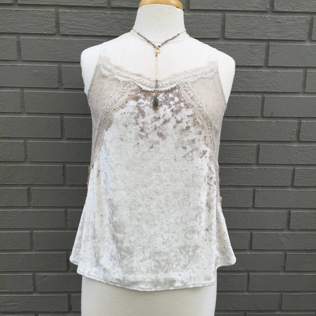 Teresa Ivory Crushed Velvet Lace Top ORIG 86