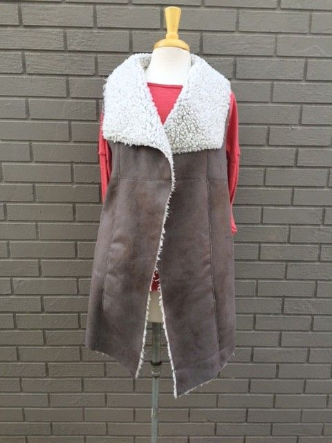 Dylan Long Frosty Tipped Shearling Vintage Vest Grey Brown