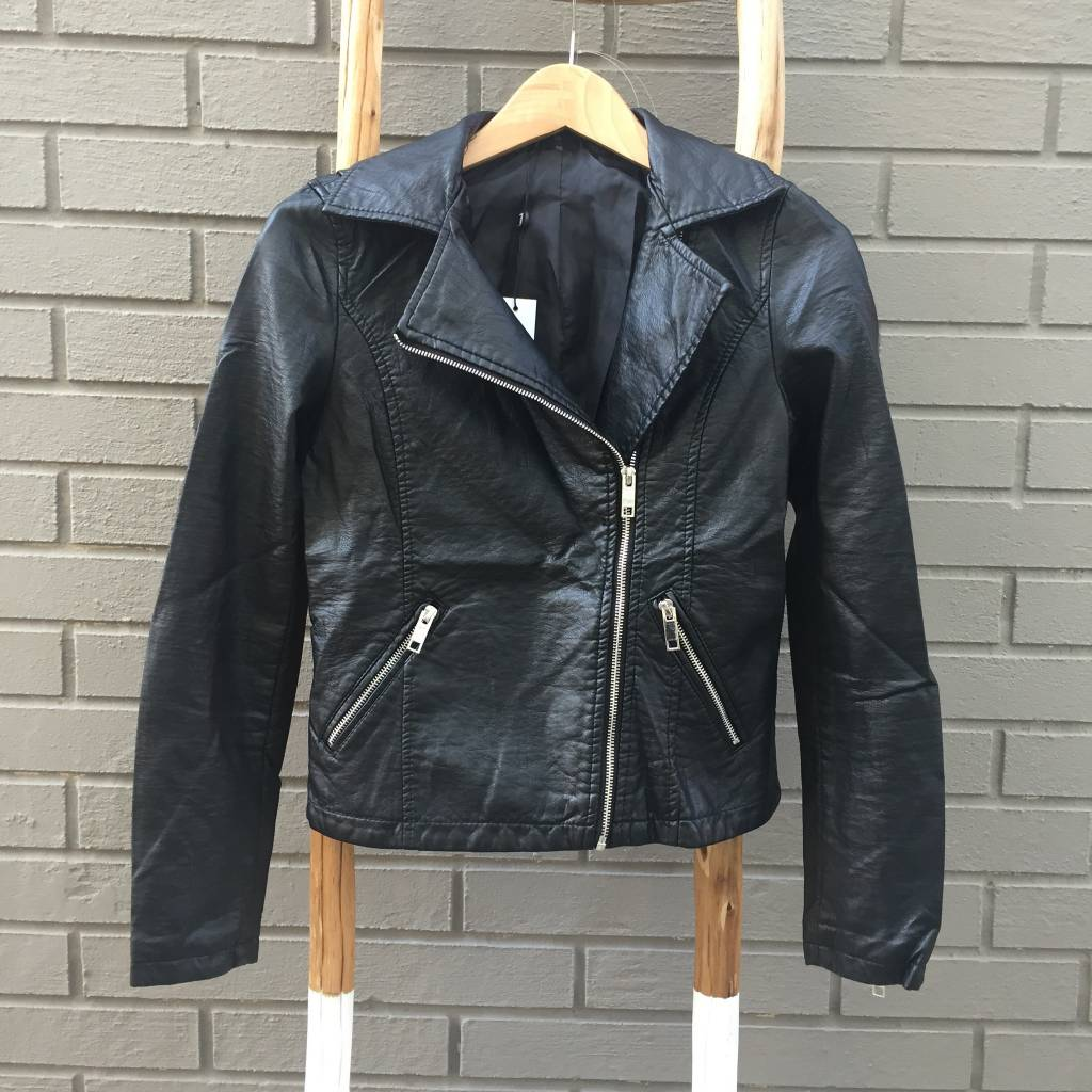 Love Token Brit Fur Collar Leather Jacket Black ORIG 148