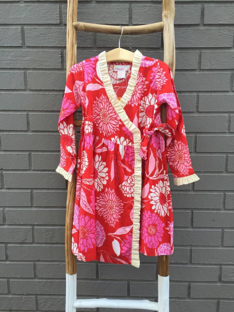 Masala Baby Eden Wrap Dress Red Pink Floral
