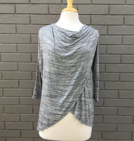 Mod-O-Doc Cowl Neck Crossover Tee Heather Charcoal