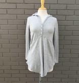 Mod-O-Doc Henley Hoodie Sweater Heather Grey