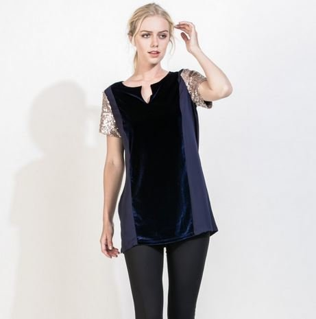 THML Velvet Short Sleeve Tunic Top