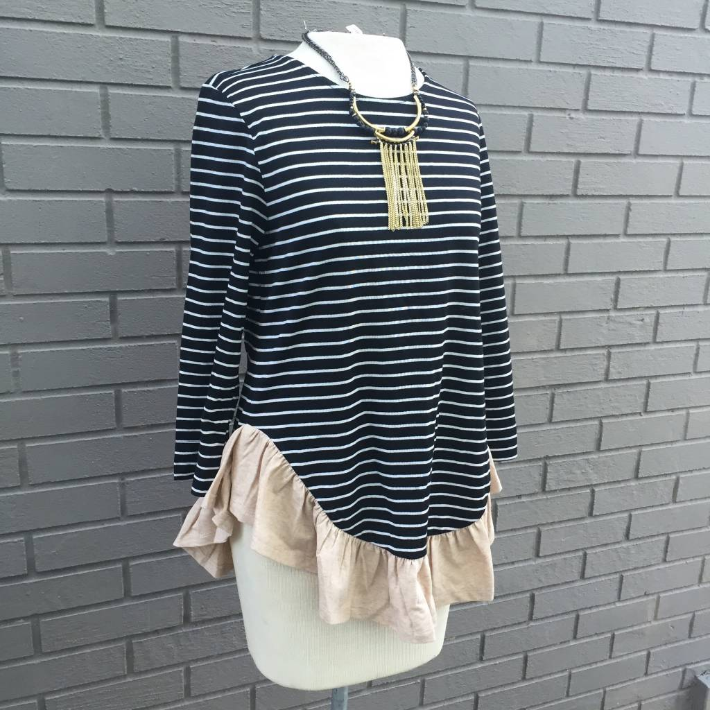 THML Striped Black White Top with Flounce ORIG 52