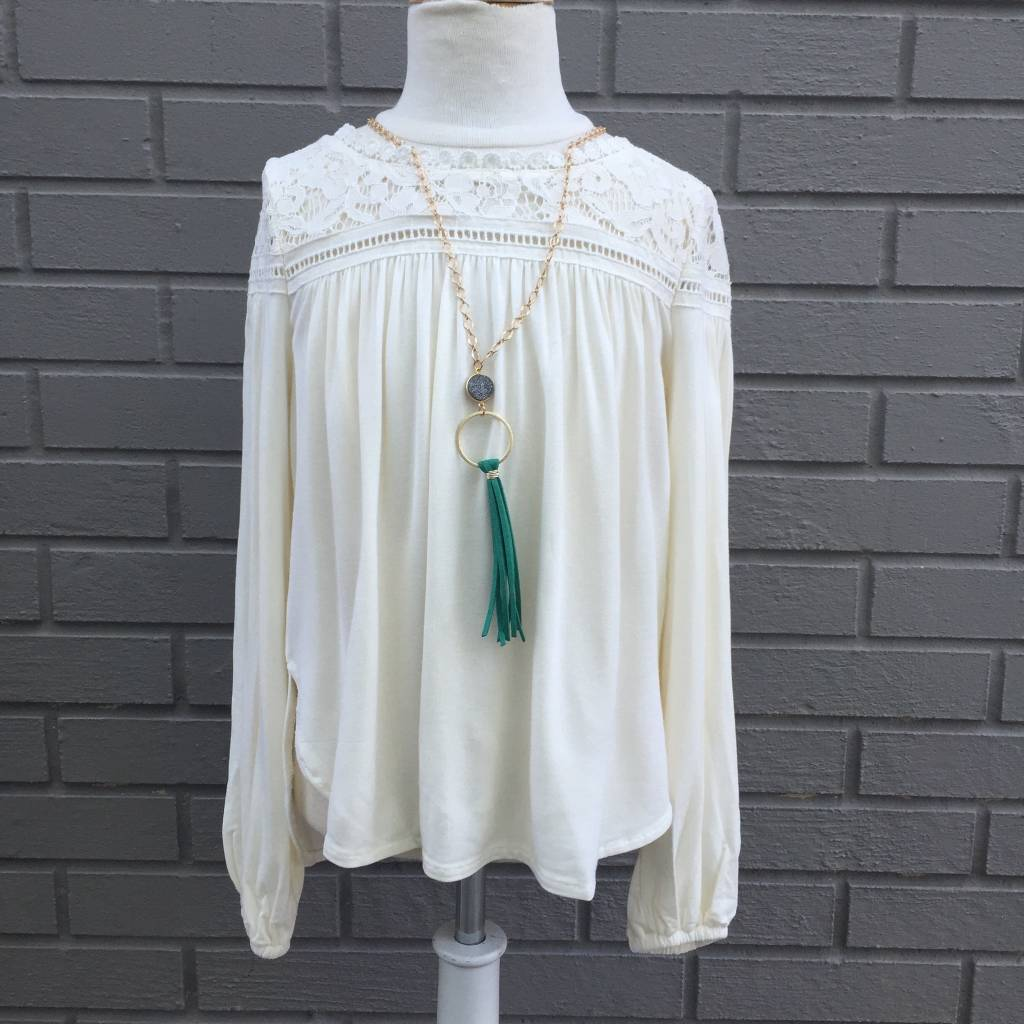 Ella Moss Gwen Bell Sleeve Top Off-White
