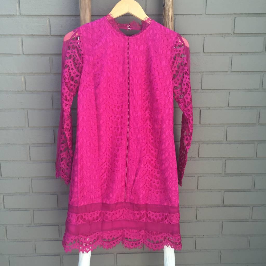 Adelyn Rae Hot Pink Lace Sheath Dress w Open Back ORIG 90