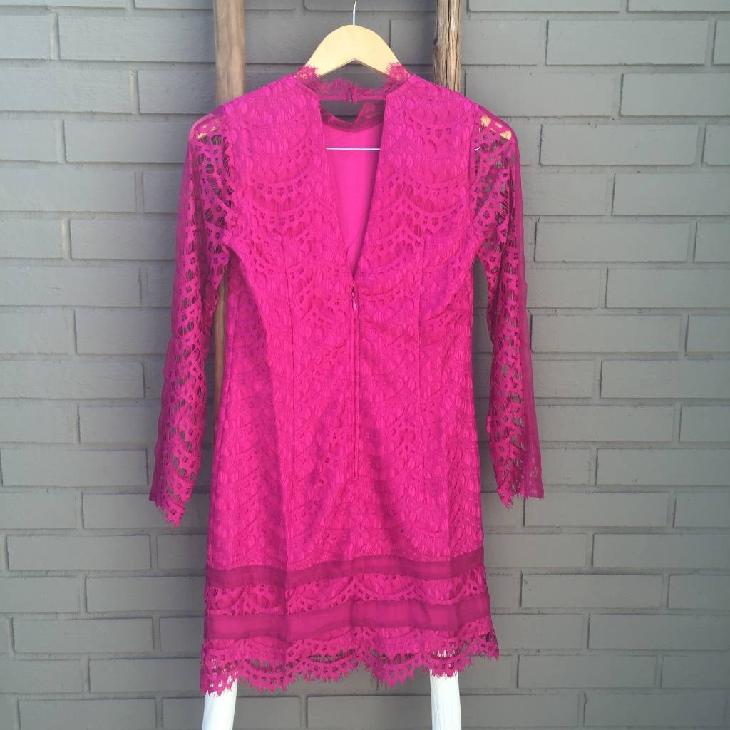 Adelyn Rae Hot Pink Lace Sheath Dress w Open Back ORIG 90