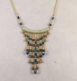 Nakamol WNX5687 Blue Crystal Gold Necklace