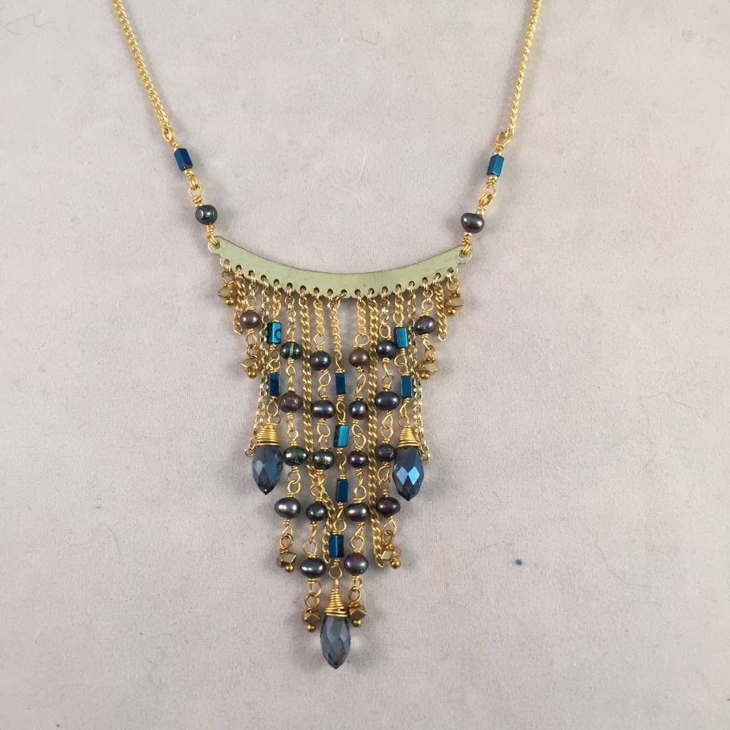 Nakamol WNX5687 Blue Crystal Gold Necklace