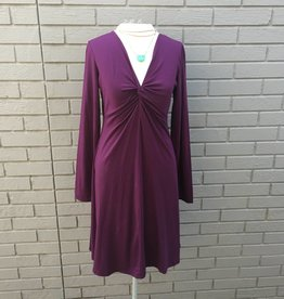 Mod-O-Doc Twist Front Empire Dress Spiced Plum