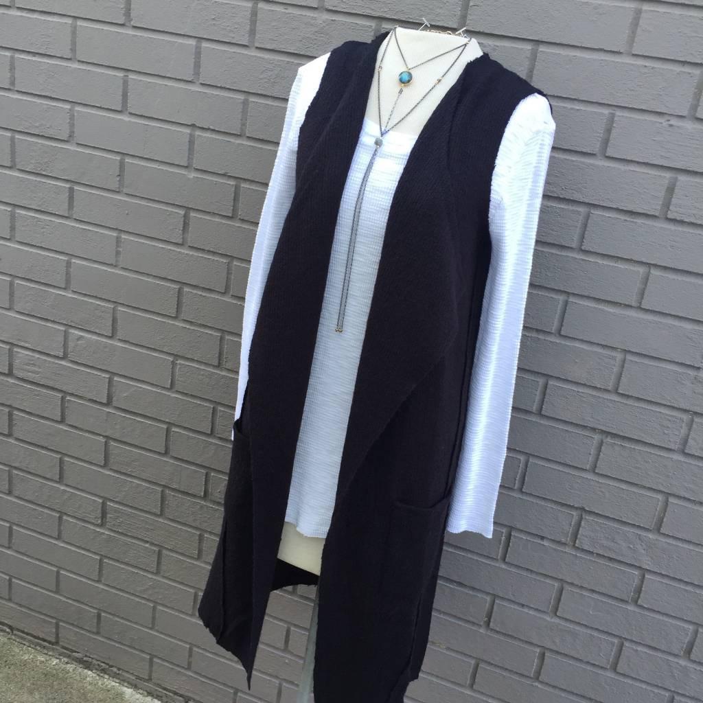 Anama Long Black Sweater Vest