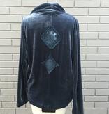 Anama Blue Velvet Drape Front Cardigan