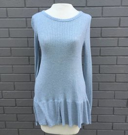 Dylan Thermal and Rib Hem Pullover Chambray Blue
