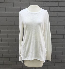 Dylan Natural White Slub Knit Ruffle Back Tee