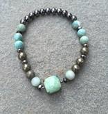 Nakamol BLXA23 Amazonite Stretch Beaded Bracelet
