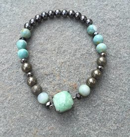 Nakamol BLXA23 Amazonite Stretch Beaded Bracelet