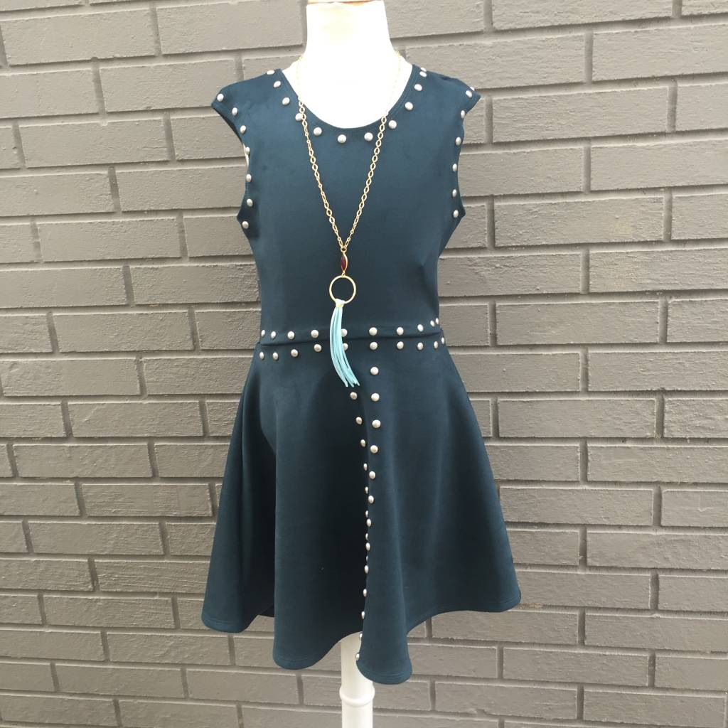 Green Suede Studded Dress ORIG 62