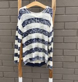 Splendid Stripe Loose Knit Sweater Navy White