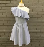 Blue White One Shoulder Woven Dress ORIG 86