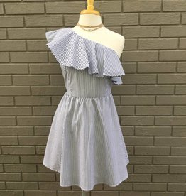 Blue White One Shoulder Woven Dress ORIG 86