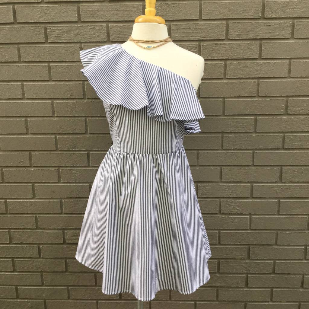 JOA Blue White One Shoulder Woven Dress