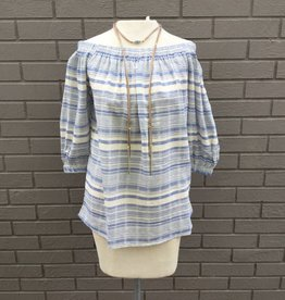 Bishop and Young Karlee Off The Shoulder Top Blue White