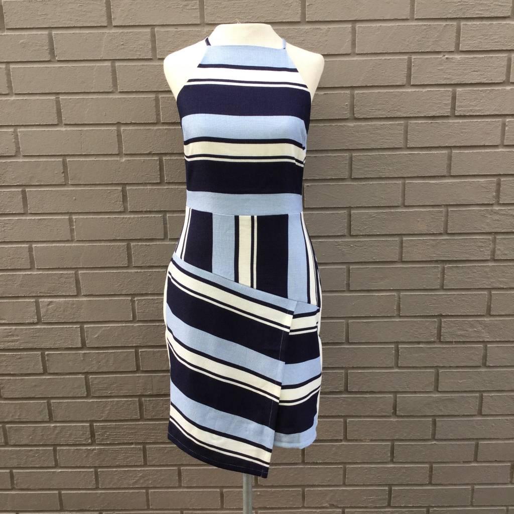 JOA Navy Blue White Bold Stripe Dress