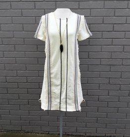 Moon River Cream Black Short Sleeve Dress
