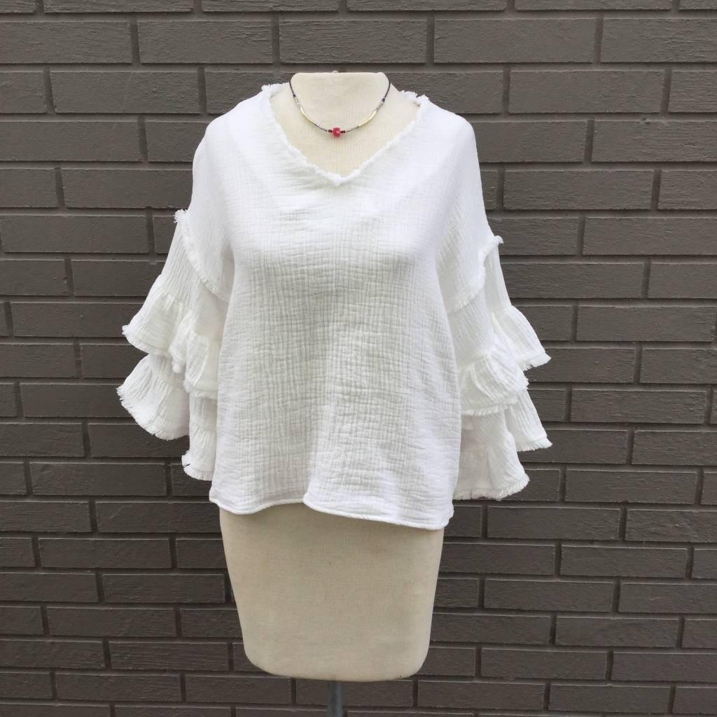 Moon River Off White Peasant Blouse