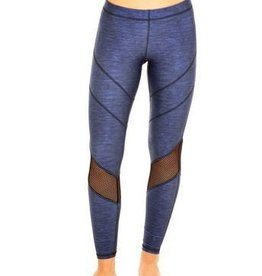 Terez Blue Heathered Chevron Mesh Leggings