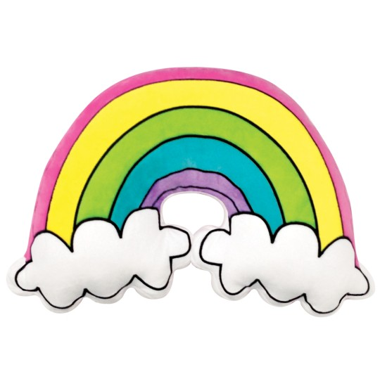 Iscream Rainbow and Clouds Fleece Embroidered Pillow