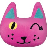 Iscream Winking Cat Embroidered Pillow