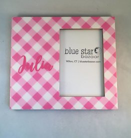 Heartstrings Pink Gingham Personalized Frame