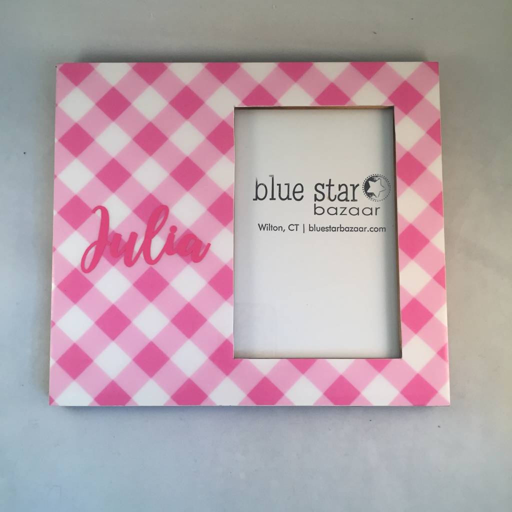 Pink Gingham Personalized Frame