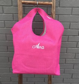 Heartstrings Large Pink Jute Beach Tote